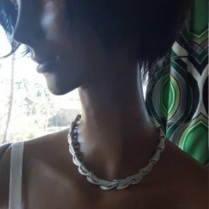 Silver choker necklace Signed Coro 1960's